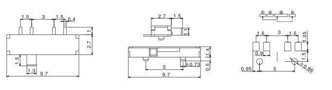 8贴片脚侧拨柄小拨动开关 MSK13C01