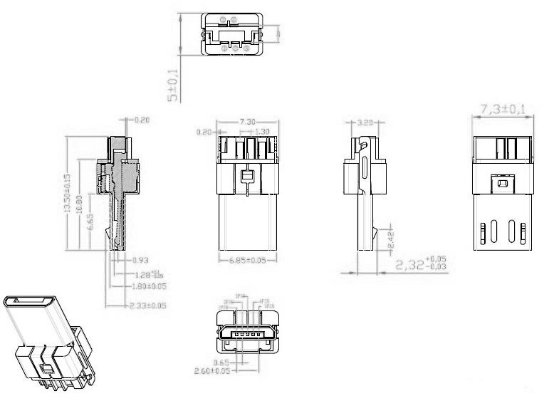 micro usb接口 5p焊线式a公头 胶芯厚5.0不同长度厚度