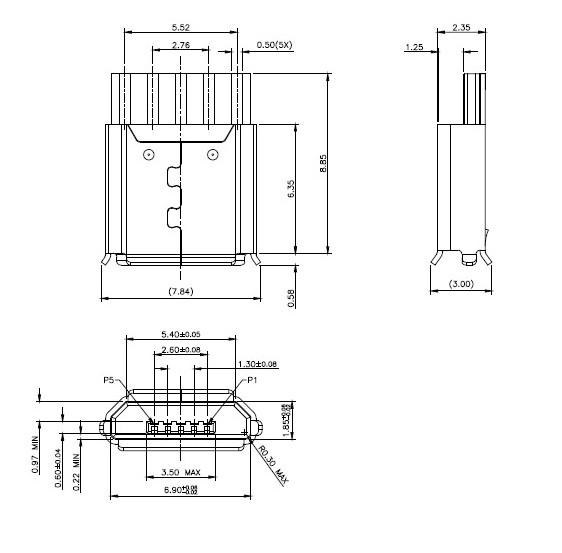 micro usb接口 5p座焊线式 可带白色塑胶外壳/黑色