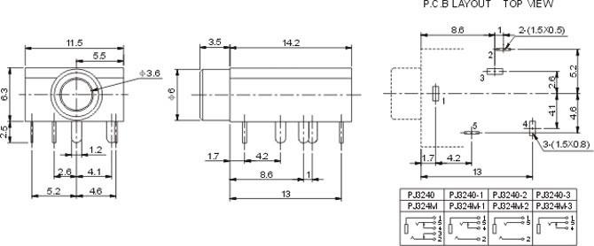 透明胶盖耳机插座PJ324M (配螺母)