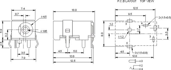 叉型接触弹片一端为接线口,外露在基座圆柱体顶面,供连接输入电源软线或软缆用,叉型接触弹片另一端由基体互连的两只弹性臂组成,设置在DC插头插入方向绝缘基座插孔内,供给电脑显示器之用,使之正常工作。 DC插座特征: 1.具备AC97和HDA等不同规范结构设计; 2.弹性端子采用优良的进口磷青铜材料,保证了弹性部件的寿命; 3.